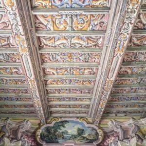 soffitto a cassettoni a villa arconati